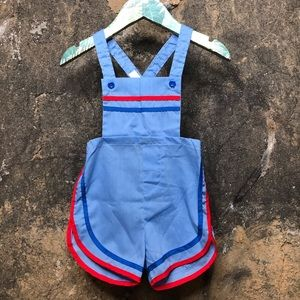 Vintage blue romper with blue and red trim